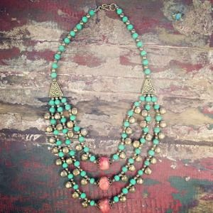 Zephyr Road — Brass/Turquoise/Coral coloured necklace with Bells