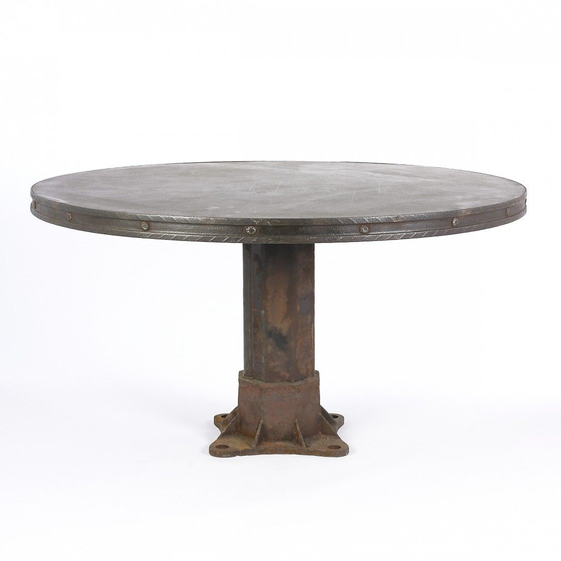 Cheap And Rustic Round Black Iron Riveted Dining Table Model With