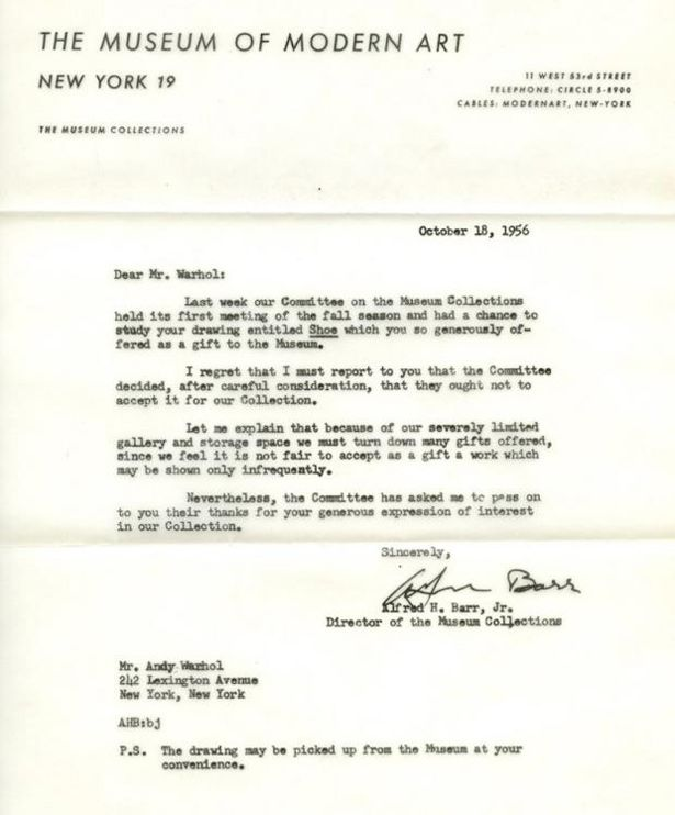 Rejection letters sent to famous people Warhol and Fluxus - job rejection letters
