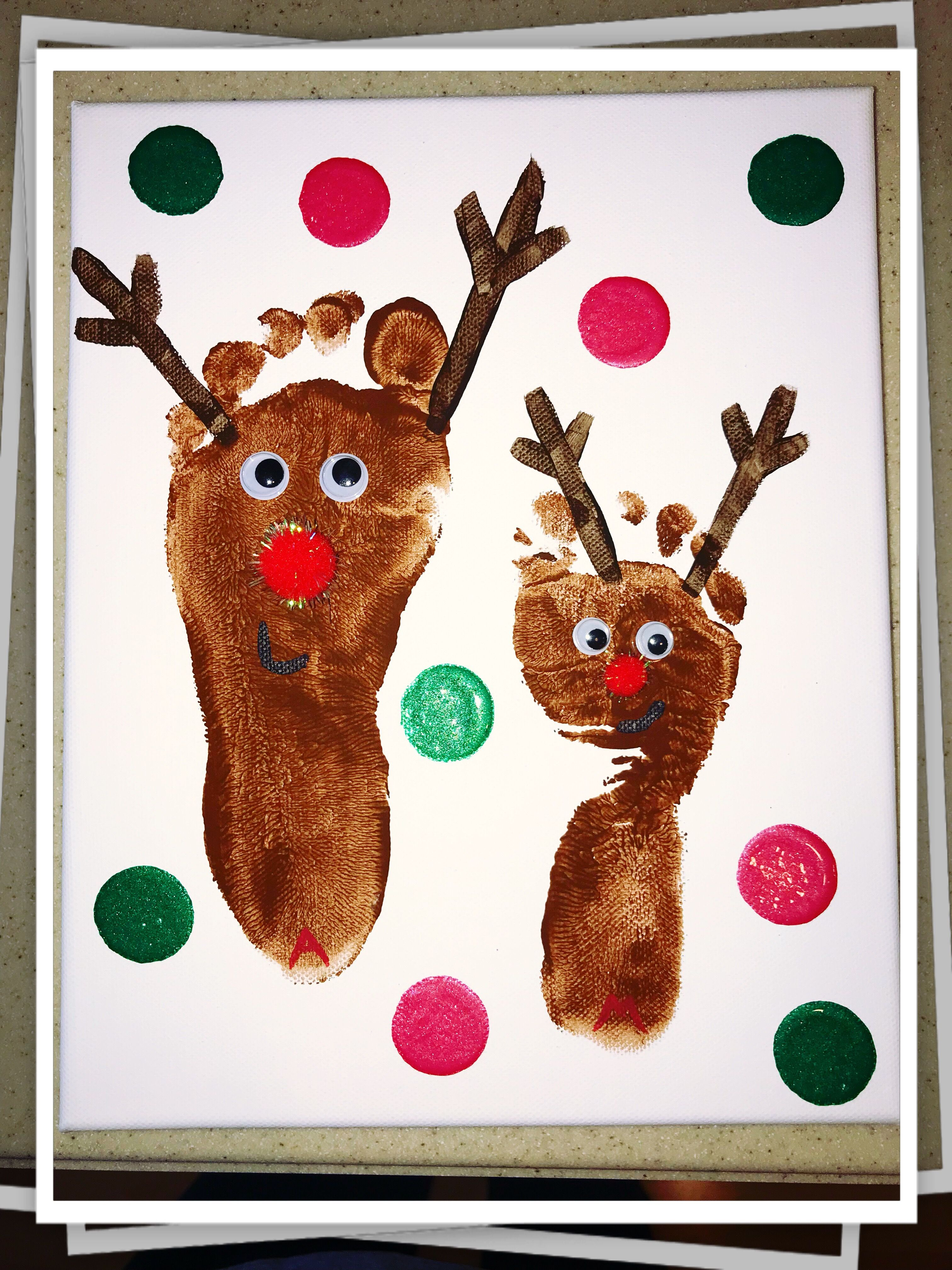 Reindeer Foot prints Christmas arts and crafts (With ...