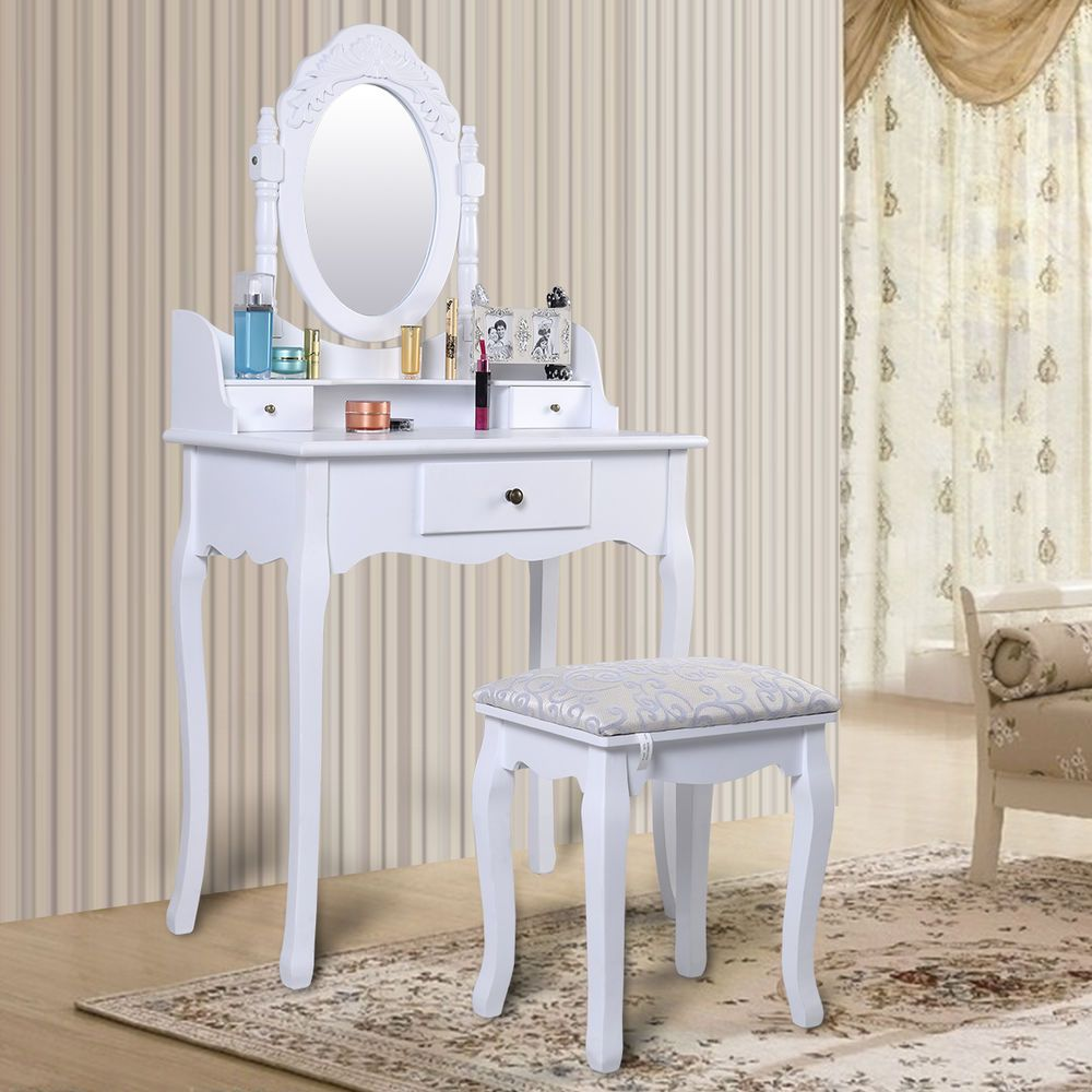 Vintage White Dressing Table Set With Adjustable Oval Mirror And ...