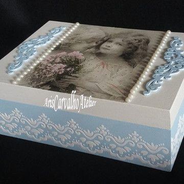 Caixa Decorativa Menina Vitage #caixasdemadeira