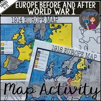 World War I Map Activity (1914 and 1918 Europe Maps ...