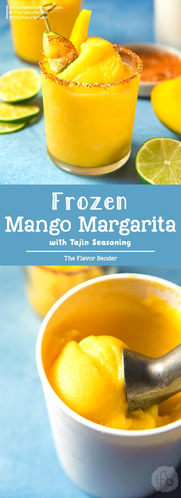 Frozen Mango Margarita - a creamy, sorbet like, fruity and refreshing frozen margarita with a spicy lime chili salt ring (Tajin Seasoning) to kick it up another notch! #MangoMargarita #FrozenMargarita #SummerCocktails via @theflavorbender #frozenmargaritarecipes