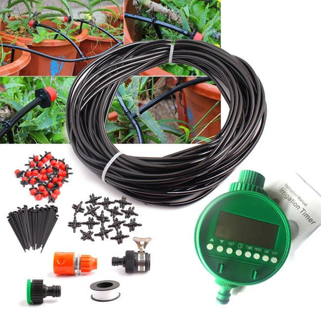 25m Micro Drip Irrigation System Auto Timer Self Plant Watering Garden Hose Drip Irrigation System Drip Irrigation Irrigation System