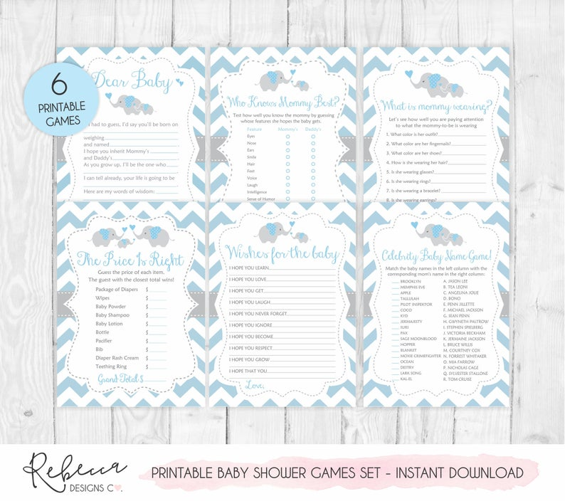 Elephant baby shower games printable games boy baby shower bundle baby shower games set blue elephant games price is right blue games 175