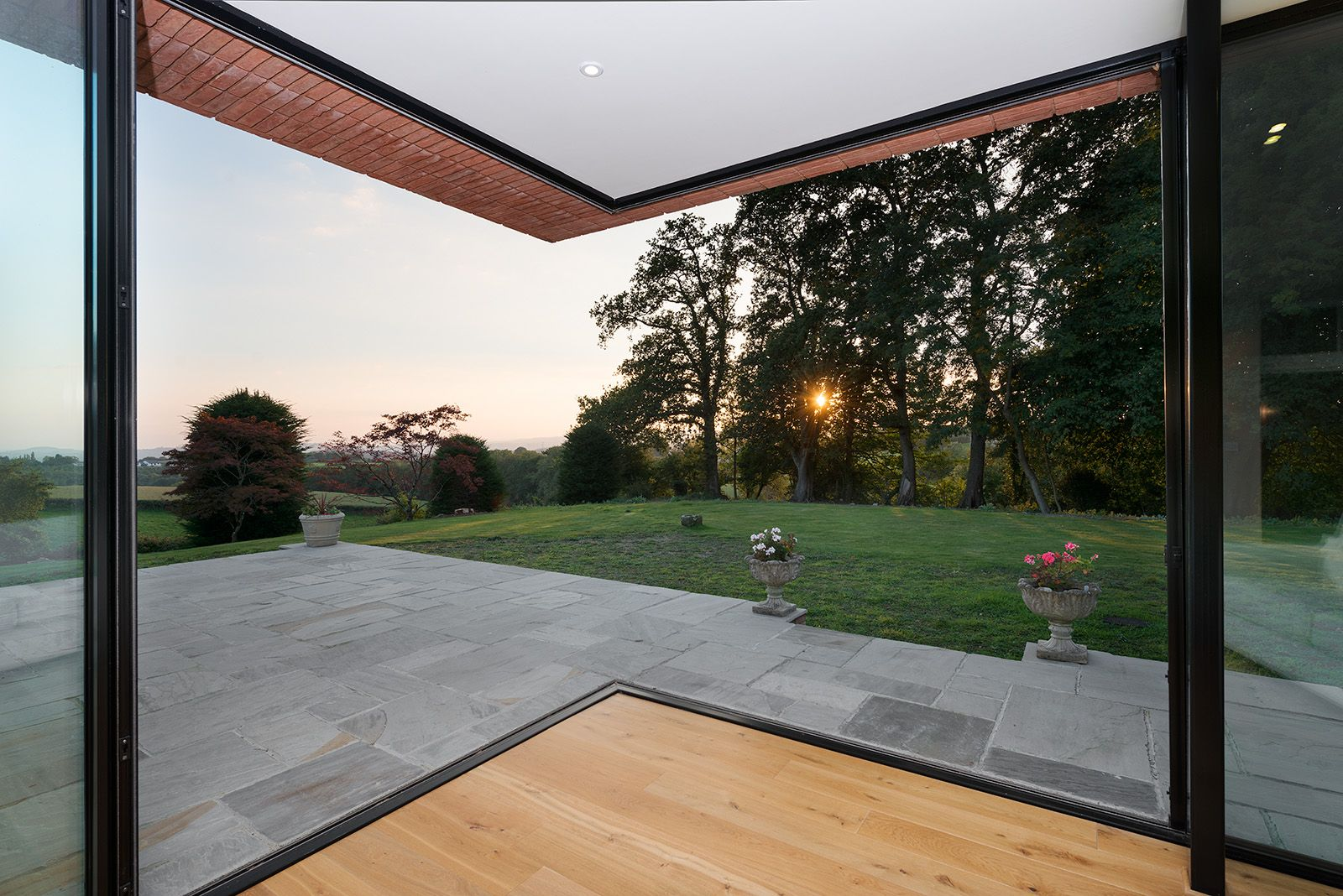 House Refurbishment And Extension With Floating Roof Above Open Sliding Glass Door Corner Glass Doors Patio Barn Doors Sliding Beautiful Doors