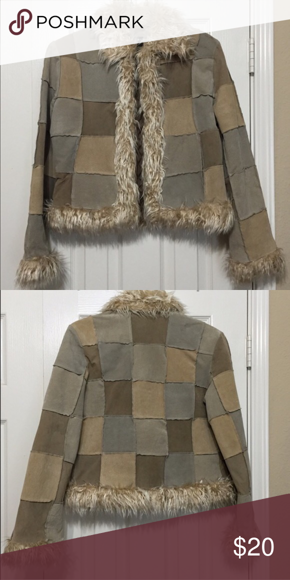 BKE Patchwork Coat EUC. Faux fur trim. Patchwork design. Size medium. Button front. Sadly it doesn't fit me so I have to reposh BKE Jackets & Coats