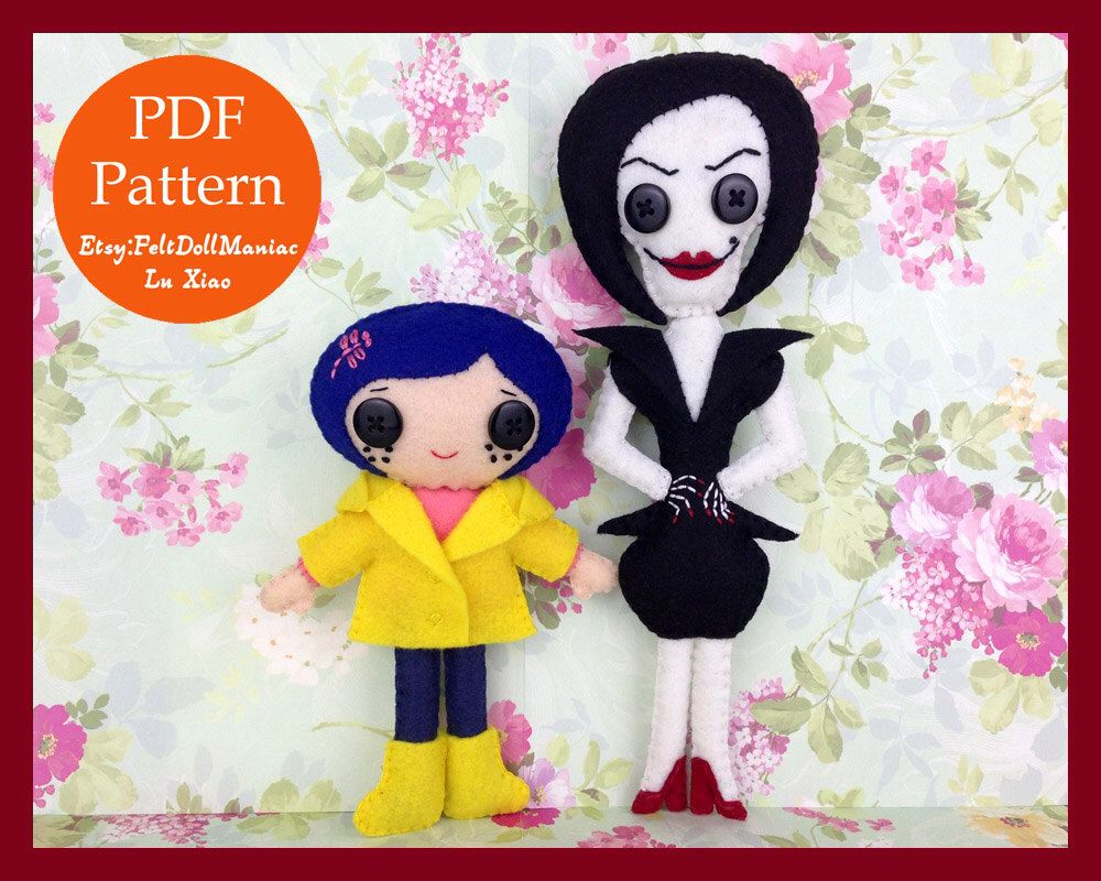 Pdf Pattern And Tutorial Coraline And Other Mother Felt Doll Etsy Felt Dolls Halloween Patterns Halloween Doll