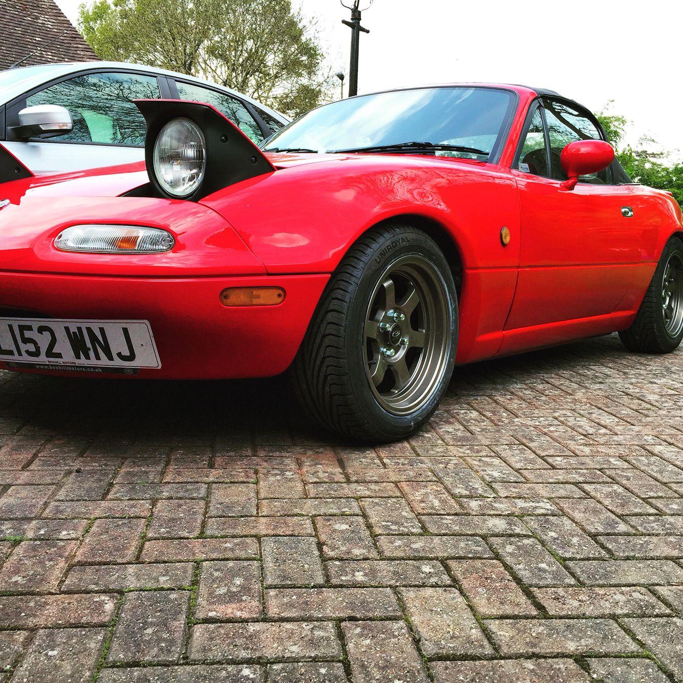 Mk1 16 Mazda Mx 5 Import Red Sat On Rota Grid V 7x15 Wheels With