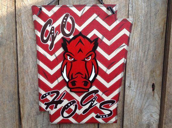 Arkansas Razorback Door Hanger Sports Decor By Theredwoodbarn Hangers Pinterest Razorbacks And