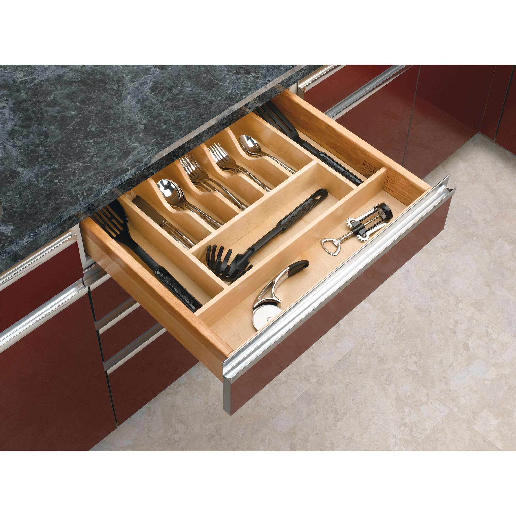 Rev A Shelf 4Wct 3Sh Short Cutlery Tray Insert (Natural), Tan (Wood)