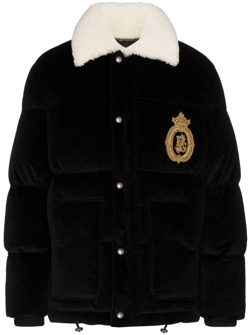 Dolce Gabbana Logo Embroidered Velvet Puffer Jacket In Black Modesens Dolce Gabbana Logo Dolce And Gabbana Puffer Jacket Black [ 1067 x 800 Pixel ]