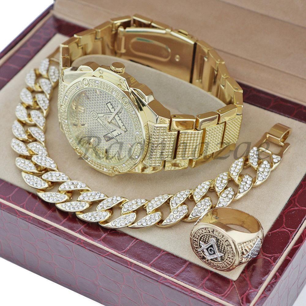 Men freemason masonic iced out geazy k gold watch cuban bracelet