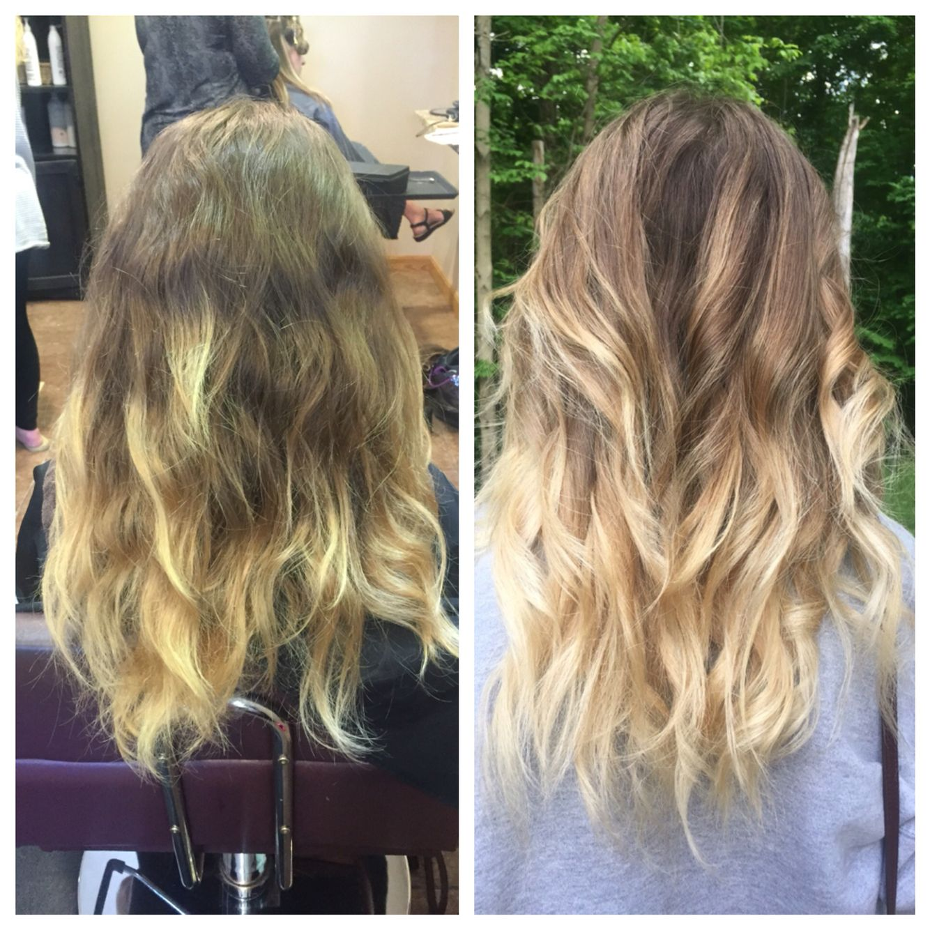 Alex S Ombre To Bayalage Aveda Lightener Used And Ash Toner To Get Rid Of The Gold Maggieheathcreations Aveda Color Long Hair Styles Hair Styles