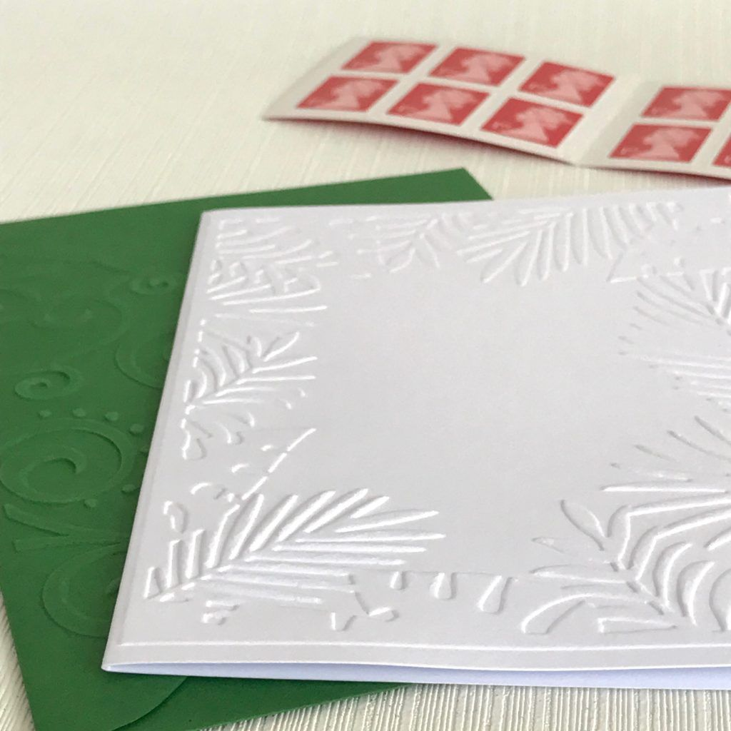 jungle border note cards  pack of 6 white embossed note