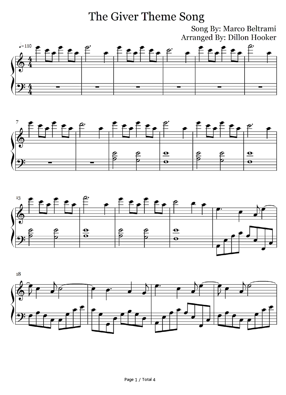 free rosemary s song the giver theme sheet music preview 1 sheet