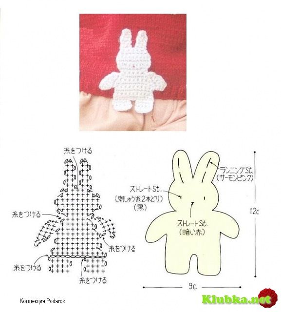 Crochet Rabbit - Chart | Crochet puntos | Pinterest | Apliques ...