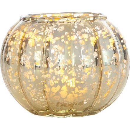 Small Gold Mercury Glass Vases Wholesale (ribbed design)
