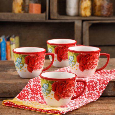Set of 4 The Pioneer Woman Vintage Floral Teal 16-Ounce Mug Set