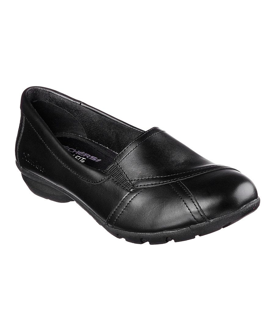 Look at this Skechers Black Relaxed Fit® Career Conference Leather Loafer on #zulily today!