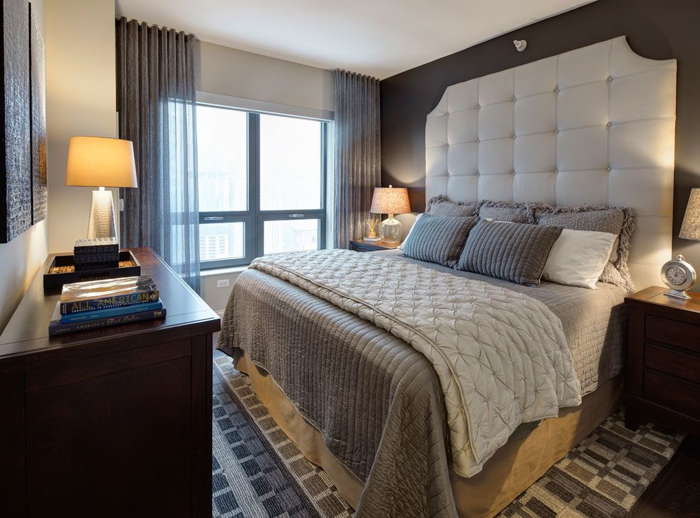 Model bedroom at AMLI River North, a luxury apartment