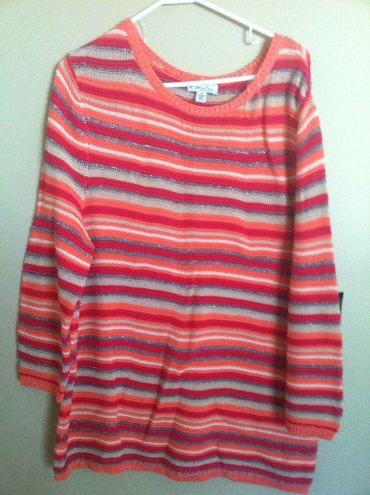 Kim Rogers Woman Coral Combo Stripe Sweater SZ 2X NWT Cotton Blend Casual Warm #KimRogersWoman #Sweater