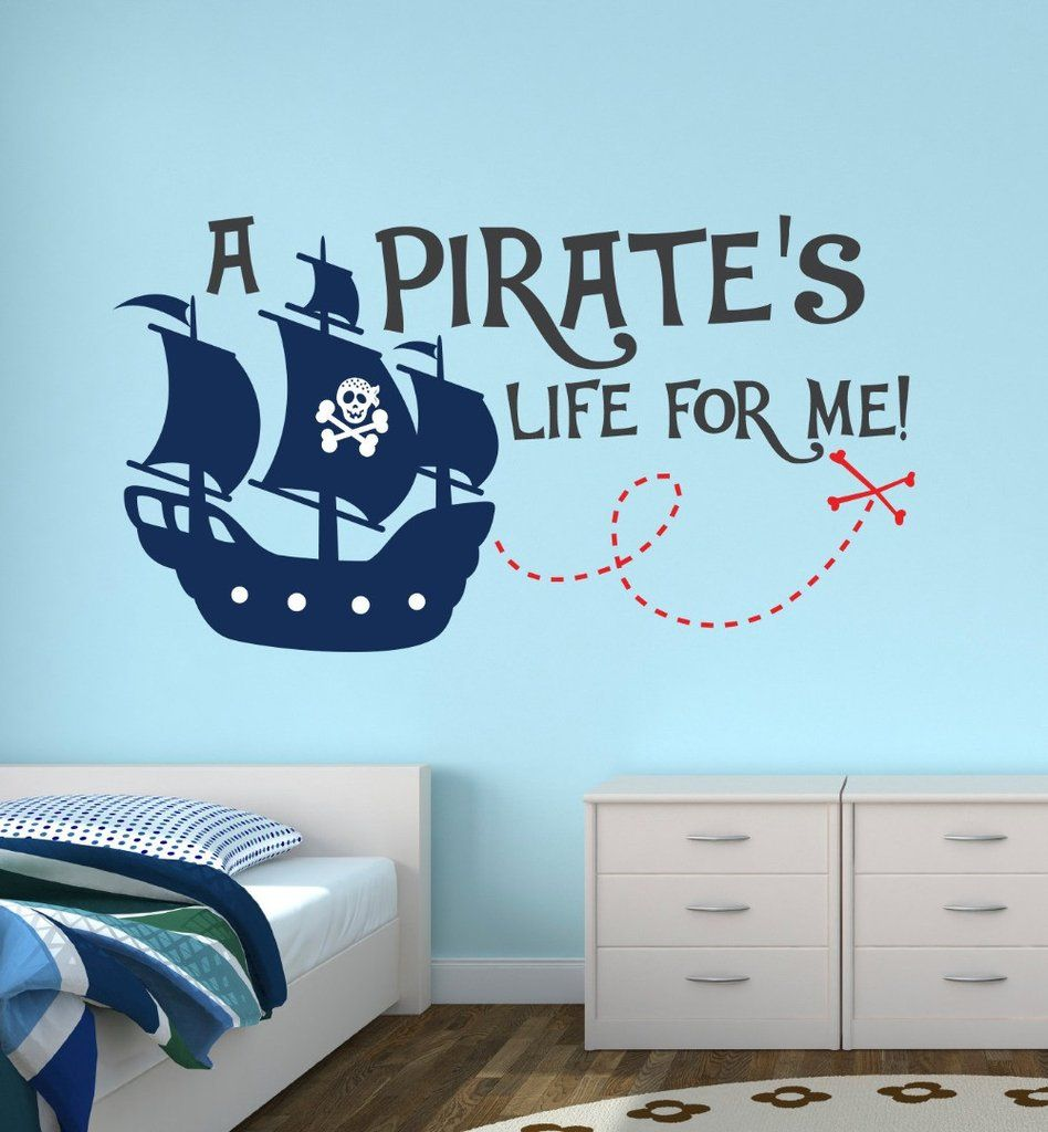 Pirate Life For Me Lovely Quotes Wall Sticker Custom Boys Name Personalized Wall  Sticker Kids Nursery