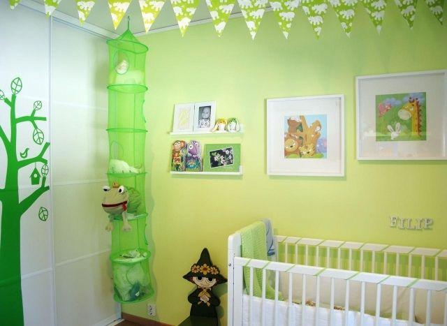 Wandfarben Kinderzimmer Junge Apfelgrün Weiße Möbel
