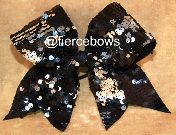 3bf87b0f55 Black and Silver Reversible Sequin Cheer Bow by MyFierceBows