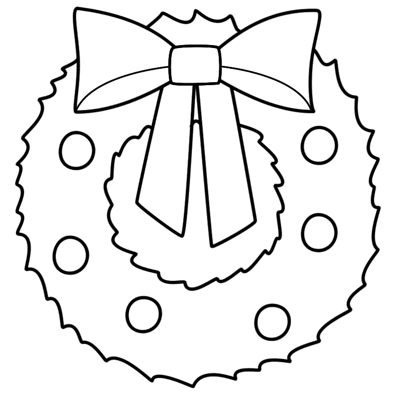 Christmas Wreath , Coloring Page (