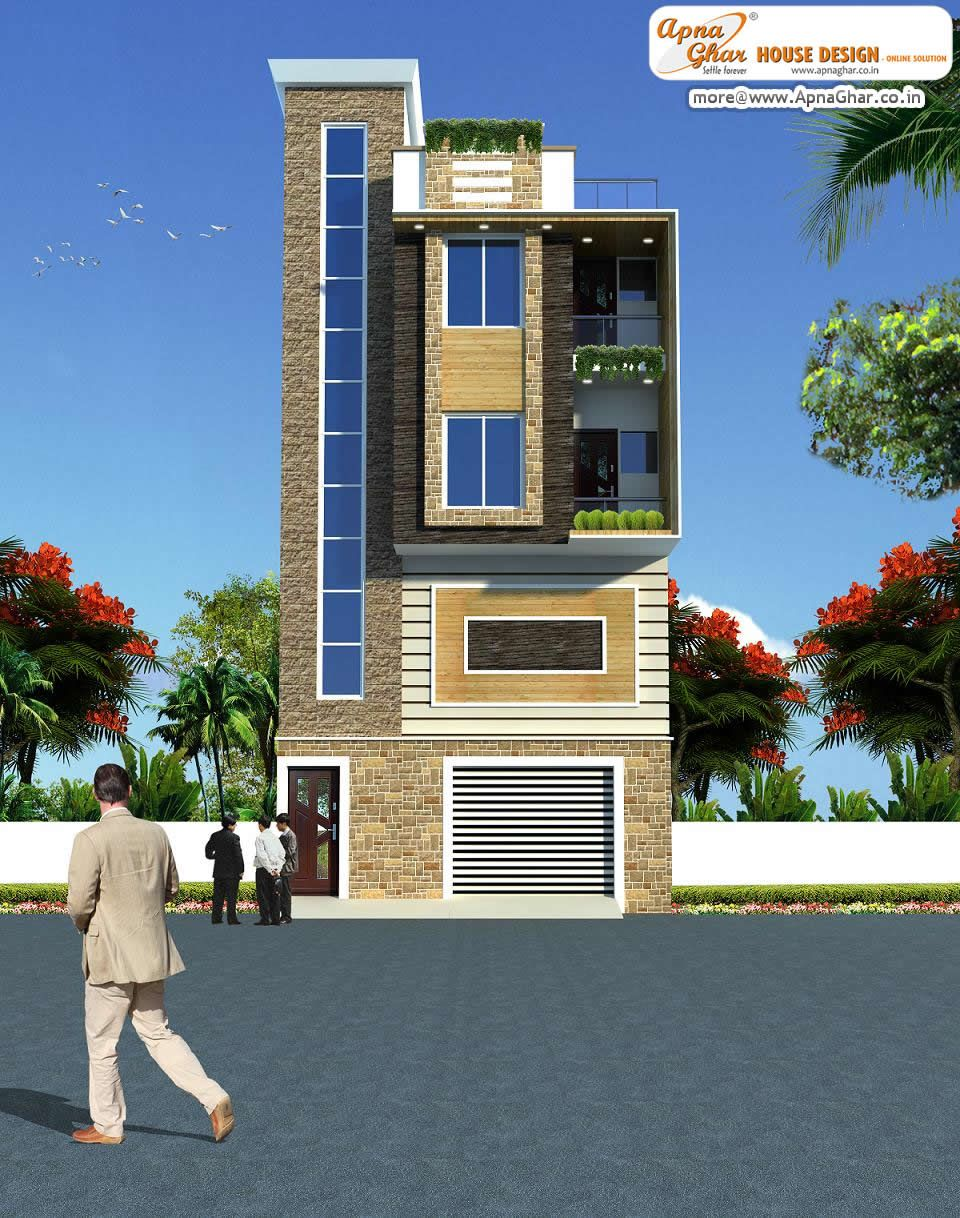 3 Bedroom Modern Triplex 3 Floor House Design With Garage Shop On Ground Floor Area 42 Sq Mts 7m Front Elevation Designs House Design House Front Design