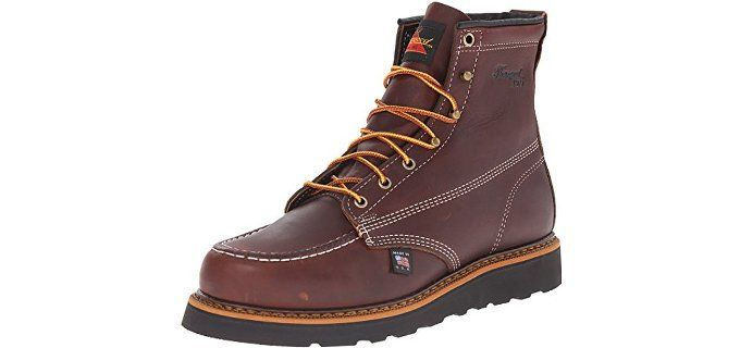 83285b2ac828 Thorogood Men s Moc Toe Wedge Heel - Non-Safety Oil and Slip Resistant Work…