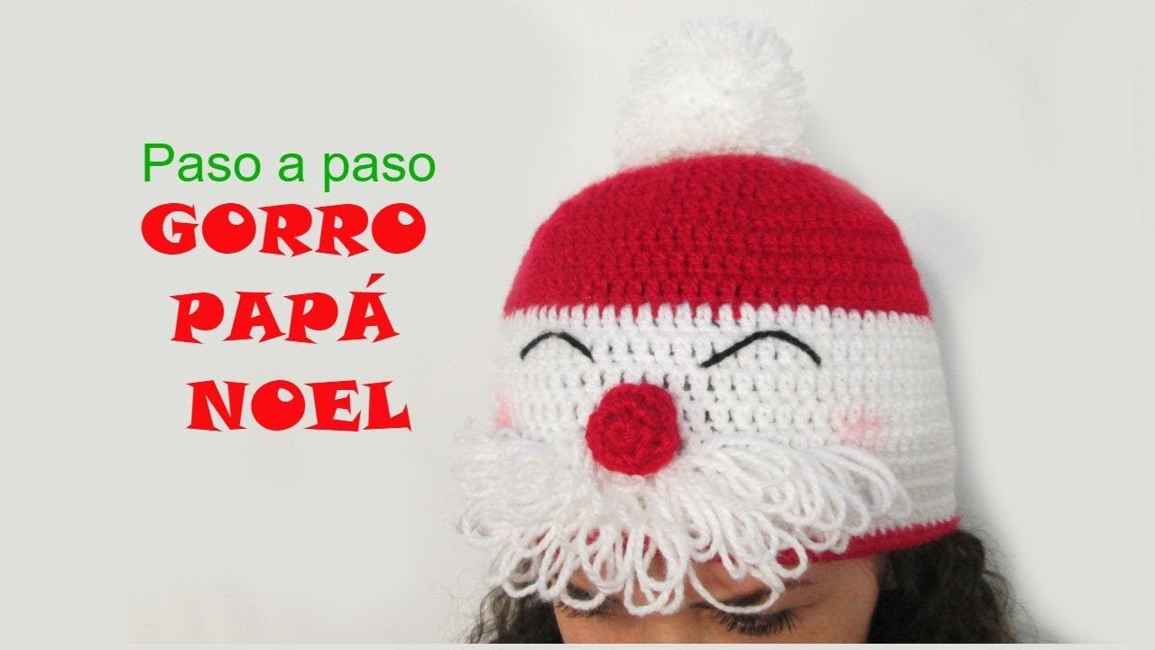🎅 Tutorial gorro papá Noel a crochet - YouTube | christmas ...