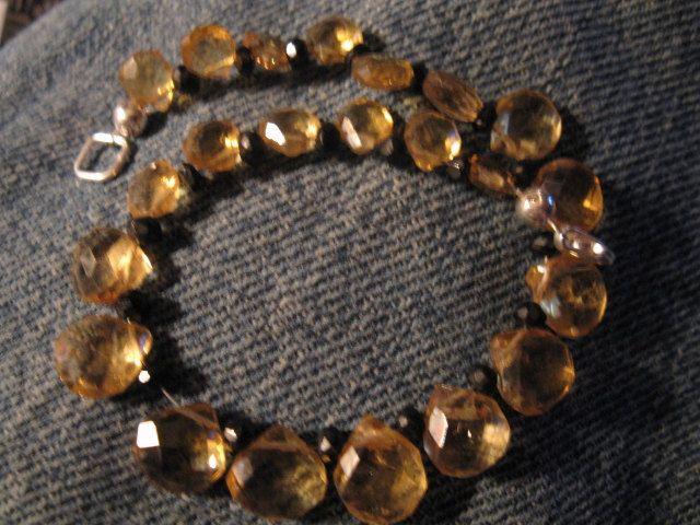 Bracelet, citrine, black spinel, sterling silver by las81101 on Etsy