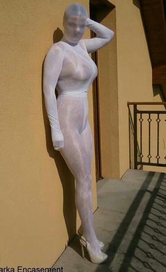 white pantyhose encasement