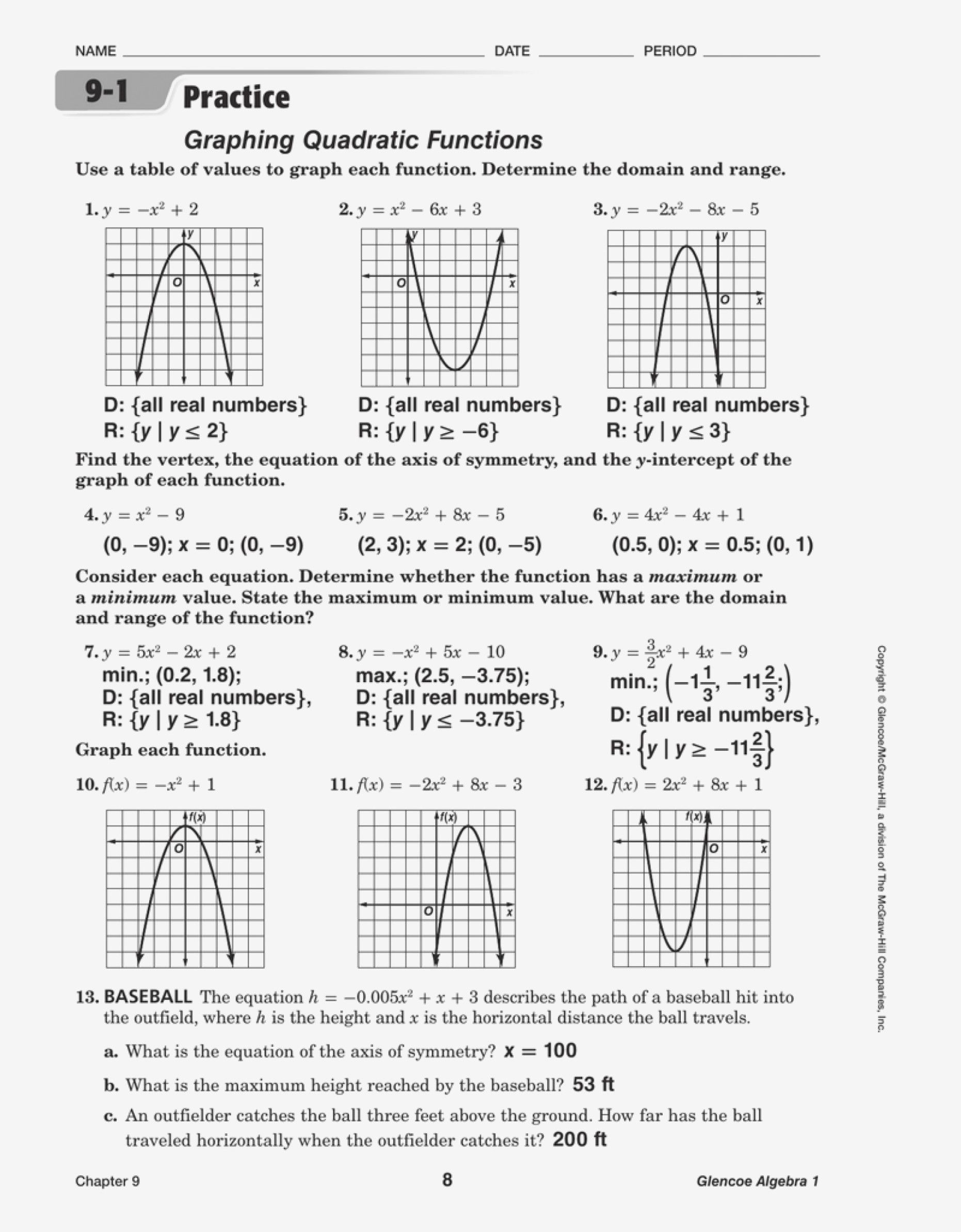 4 Graphing Quadratic Functions Worksheet Answers Algebra 1 In 2020