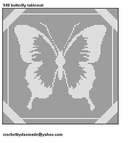 Butterfly Filet Crochet Doily Mat Afghan Pattern Item 948 ...