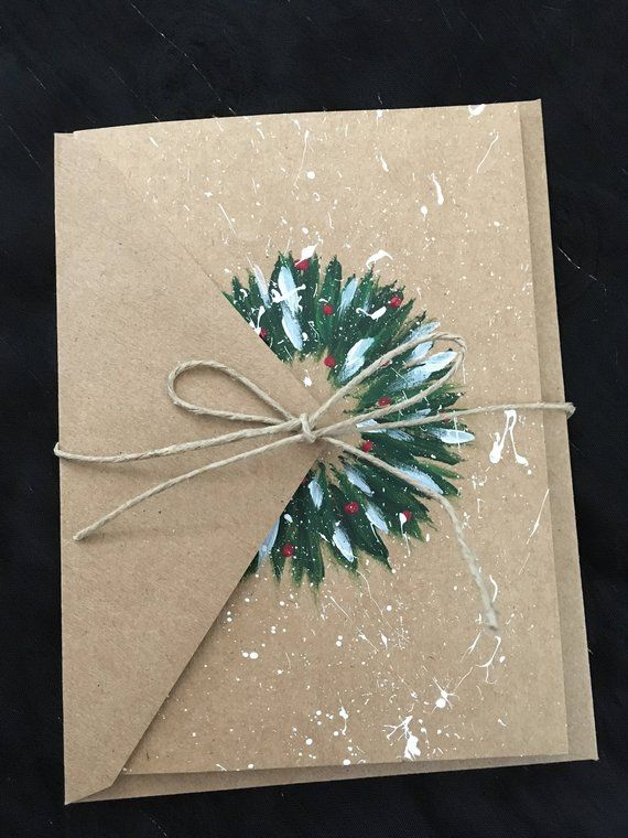 Christmas wreath hand-painted card #decodenoelfaitmaison