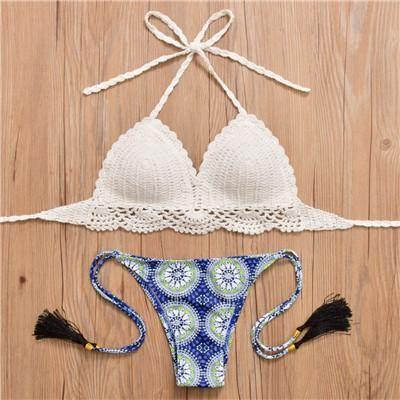Handmade Crochet Bikini Swimwear Women White Knitted Push Up Bikini Swimwear Tassel Print Panties Beach Wear