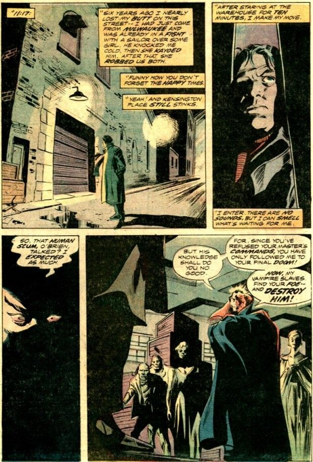 35. Gene Colan – 346 points (2 first place votes)  Gene Colan became famous at Marvel for his energetic work coupled with his unique panel arrangements on the Iron Man feature. However, I think perhaps his strongest work is the slightly less frenetic Tomb of Dracula with writer Marv Wolfman and inker Tom Palmer.  Here is Colan from the classic twenty-fifth issue where a woman hires a stereotypical private investigator (straight out of a Raymond Chandler story) to find out who murdered her…