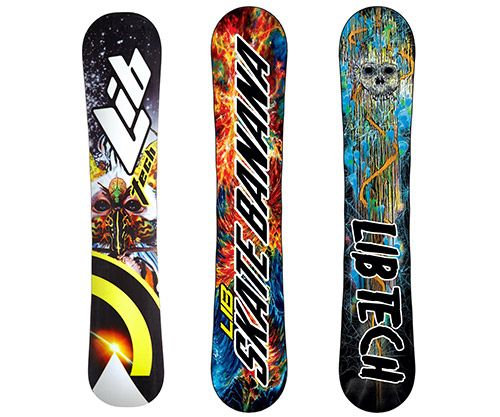 "Unlike other snowboard brands, Lib Tech does not use ""any cancer-causing toxic automotive lacquer clear coats"" and toxic printing systems. Made in the USA."