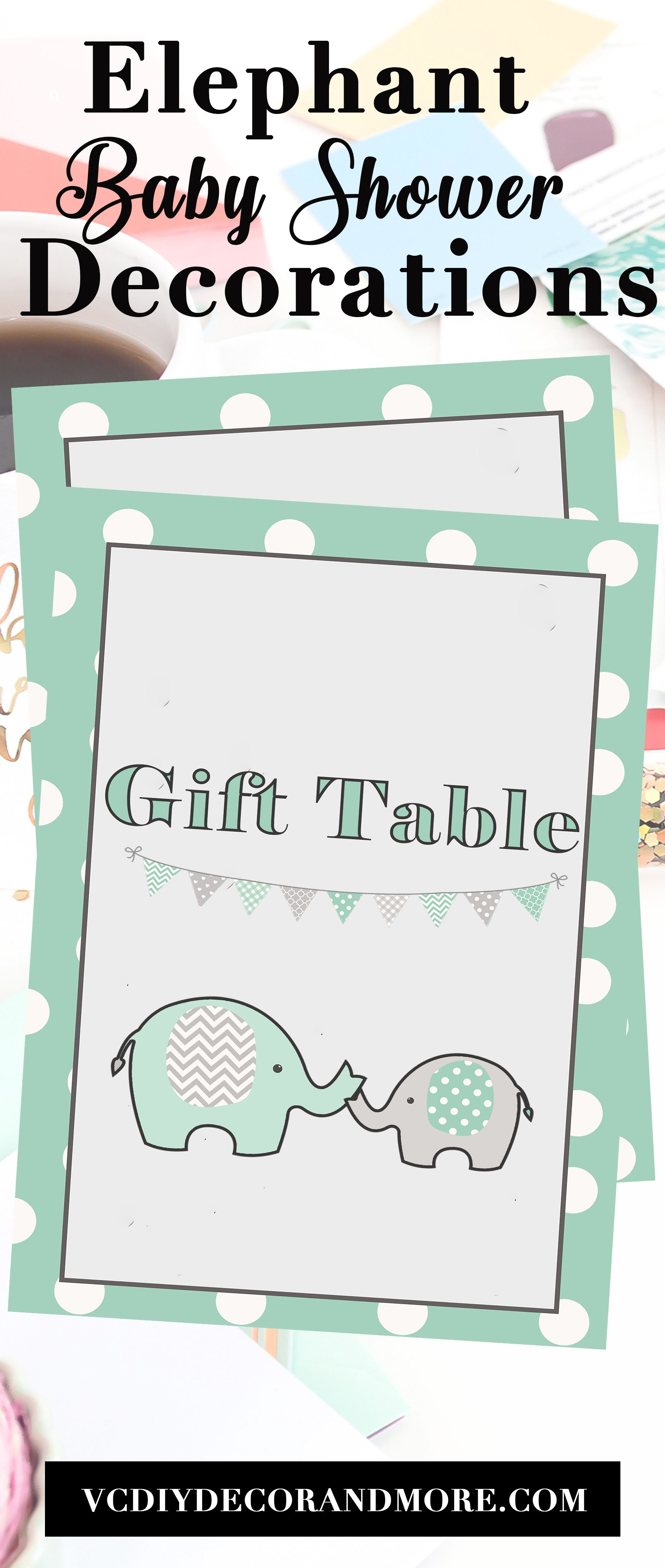 Elephant Baby Shower Decorations Sign For A Boy Baby