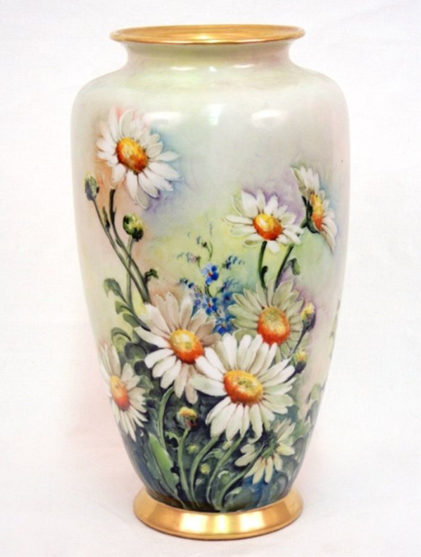 Hand Painted Porcelain Vase Daisies And Corn Flowers O With