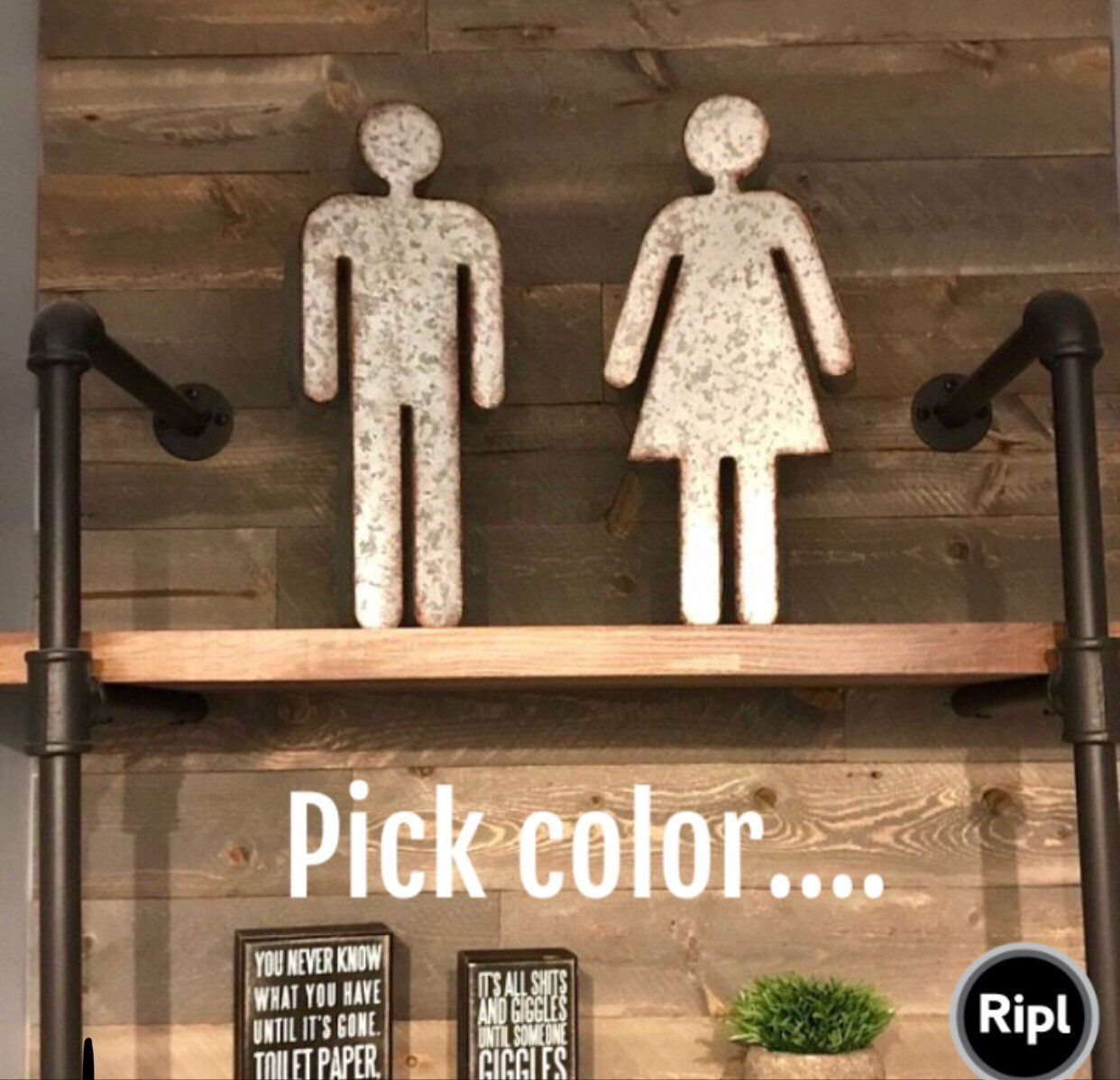 His And Hers Bathroom Sign Boy And Girl Bathroom Sign Metal