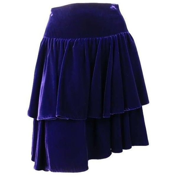 Preowned Ralph Lauren Size 2 Purple Velvet Layered Ruffle Skirt ($243) ❤ liked on Polyvore featuring skirts, purple, velvet skirt, purple velvet skirt, layered ruffle skirt, ruffle skirt and evening skirts