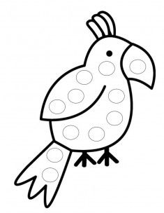 Papağan Boyama Sayfası Matematik Okuma Yazmaya Hazirlik