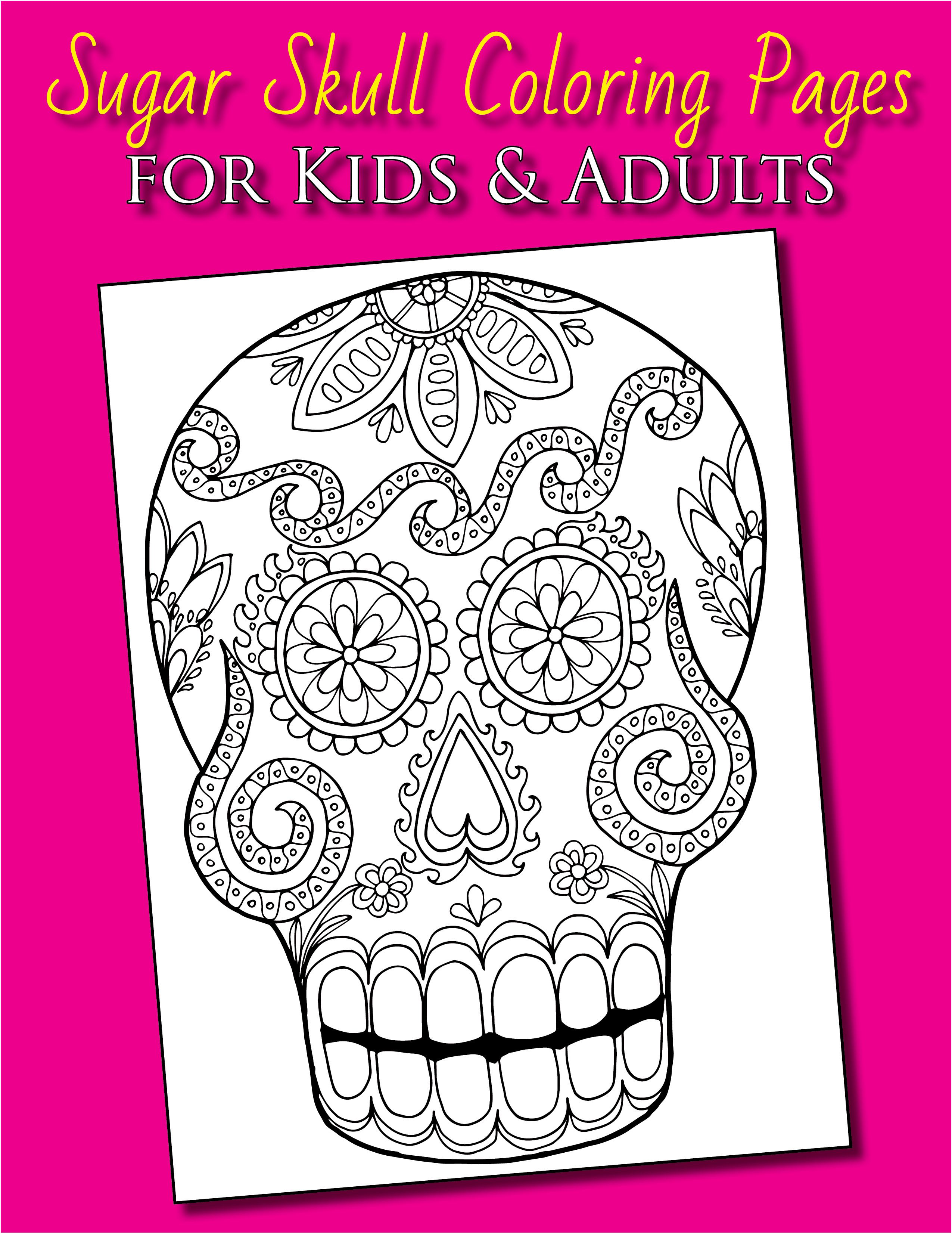mexican sugar skull folk art coloring pages from the Day of the Dead ...