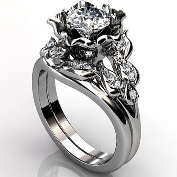 Platinum diamond unusual unique flower engagement ring bridal ring