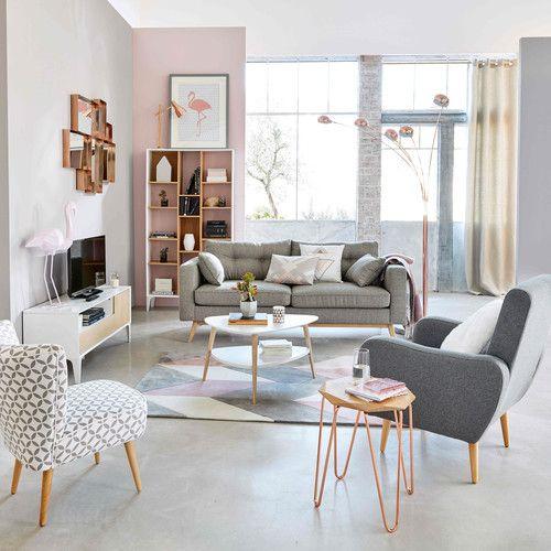 Scandinavian 3-Seater Light Grey Sofa Acapulco, Fabric sofa and